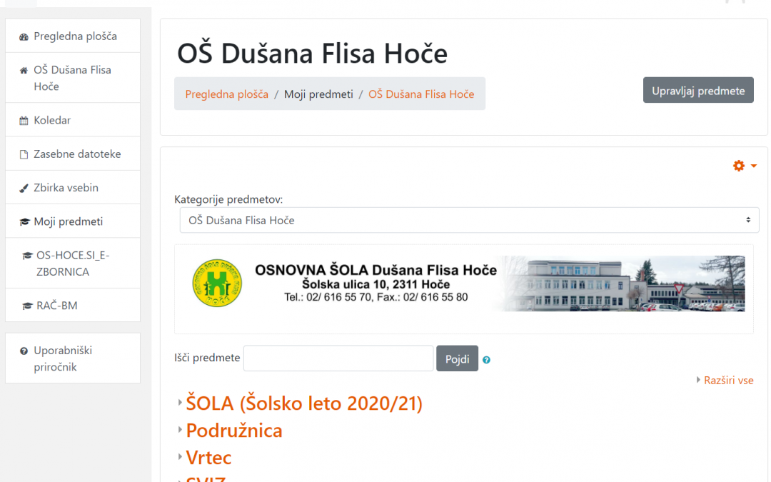Prijava v spletne učilnice OŠ Dušana Flisa Hoče